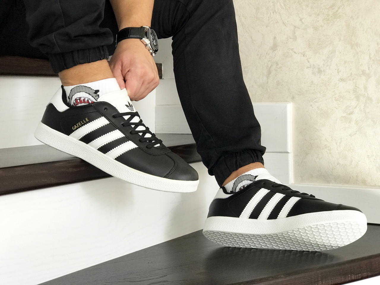 Чоловічі кросівки Adidas Gazelle Leather Traine / кеди адідас газелі (Топ репліка ААА+)