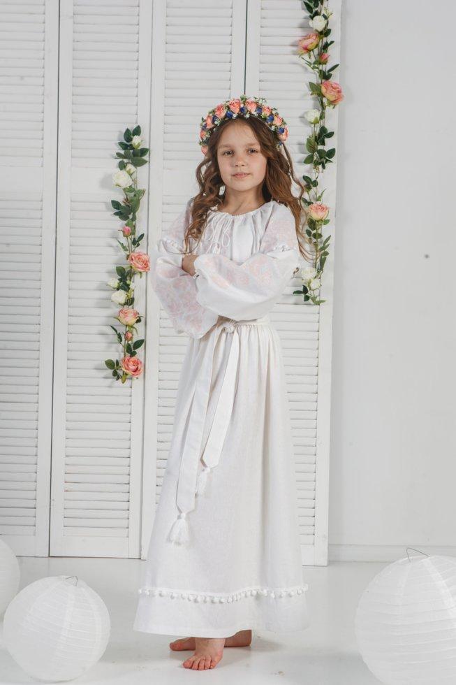 Платье Волинські візерунки с вышивкой для девочки на первое причастие 140 см белое