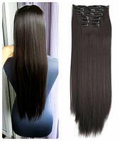 Волосы трессы на заколках ТЕРМО 8 прядей №3 темно-каштановый темный каштан длина 60-62см