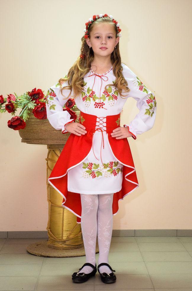 Костюм вишитий Волинські візерунки для дівчинки Червона калина 146 см