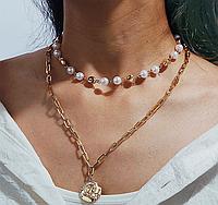Многослойная жемчужная цепочка, ожерелье золотистого цвета