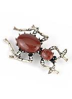 БР4300-4 Брошь муравей с красными камнями 5х3.5см