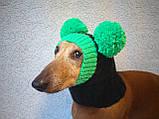Зимняя шапка для маленькой собаки с двумя большими помпонами, фото 3
