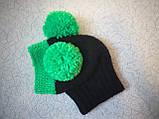 Зимняя шапка для маленькой собаки с двумя большими помпонами, фото 5