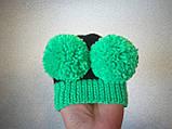 Зимняя шапка для маленькой собаки с двумя большими помпонами, фото 6