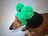 Зимняя шапка для маленькой собаки с двумя большими помпонами, фото 4