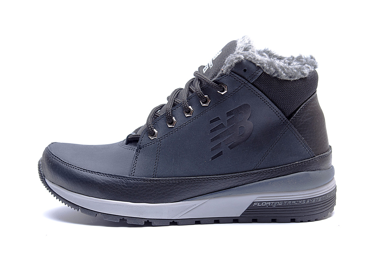 Мужские  зимние кожаные кроссовки  New Balance Blue (реплика), фото 1
