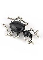 БР4300-5 Брошь муравей с черными камнями 5х3,5см