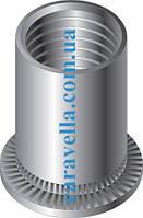 Клепальная гайка круглая с цилиндрическим буртиком открытая из алюминия