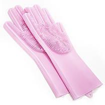 Перчатки Magic Silicone Gloves Pink силиконовые для уборки и мытья посуды, фото 3