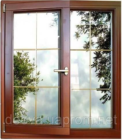Деревяні вікна з евробруса, з склопакетами та поворотно-відкидною фурнітурою (сосна або дуб)