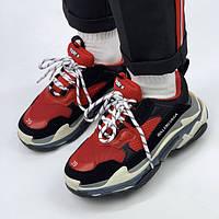 Женские кроссовки Balenciaga Triple S Red/Black (люкс копия)