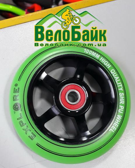 Колесо Explore Alu 100 мм в трюковой самокат зеленый / черный