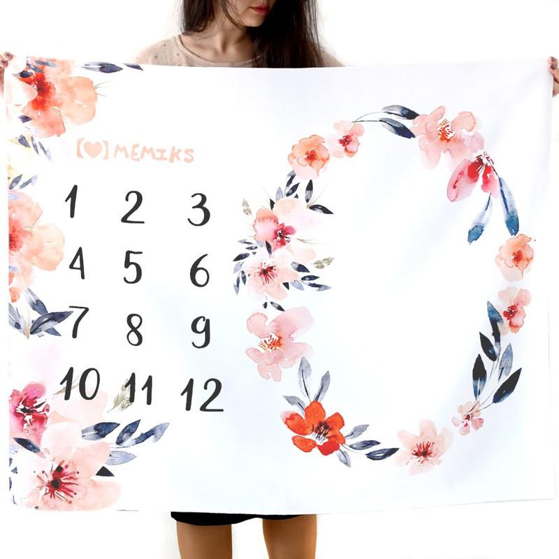 """Фотофон-пеленка для детских фотосессий по месяцам """"Цветы"""""""