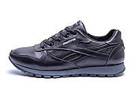 Мужские зимние кожаные кроссовки  Reebok Classic Black (реплика), фото 1