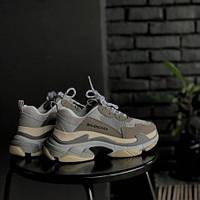 Женские кроссовки Balenciaga Triple S Grey (люкс копия)