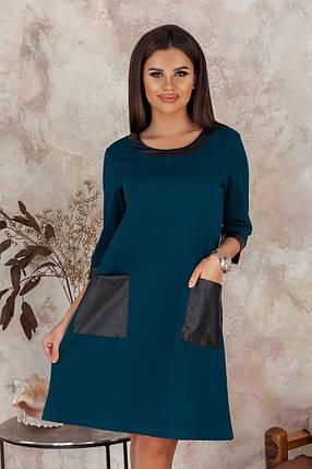 """Прямое короткое платье """"Pavlína"""" с кожаными вставками (3 цвета), фото 2"""