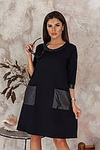 """Прямое короткое платье """"Pavlína"""" с кожаными вставками (3 цвета), фото 3"""