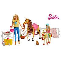 Игровой набор Барби Верховая езда и объятия Mattel Barbie Hugs N Horses Playset
