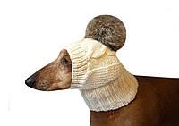 Шапка для собаки большой кроличий помпон