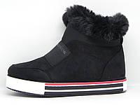 Ботинки женские зимние замшевые спортивные с опушкой.