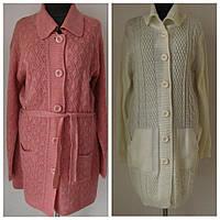 Кардиган женский вязаный, мягкая пряжа, большой размер, два кармана, пояс в комплекте, 2 цвета р.54-56,к.1394М