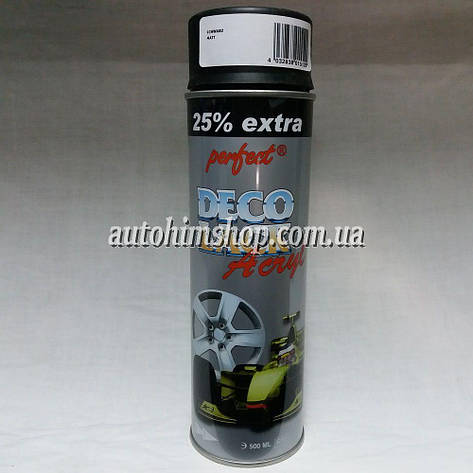 Автоэмаль для дисков акриловая Perfect Deco Lack черная матовая 500 мл, фото 2
