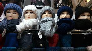 Женский комплект шапка + снуд натуральная шерсть цвета  в ассортименте