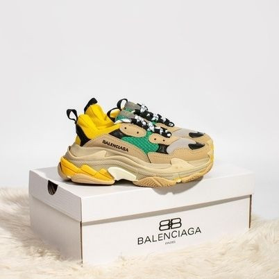 Женские кроссовки в стиле Balenciaga Triple S Yellow/Green
