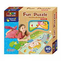 """Детская настольная игра Пазлы из плотного картона, которые можно разукрасить """"Fun Puzzle"""" (30 деталей)"""