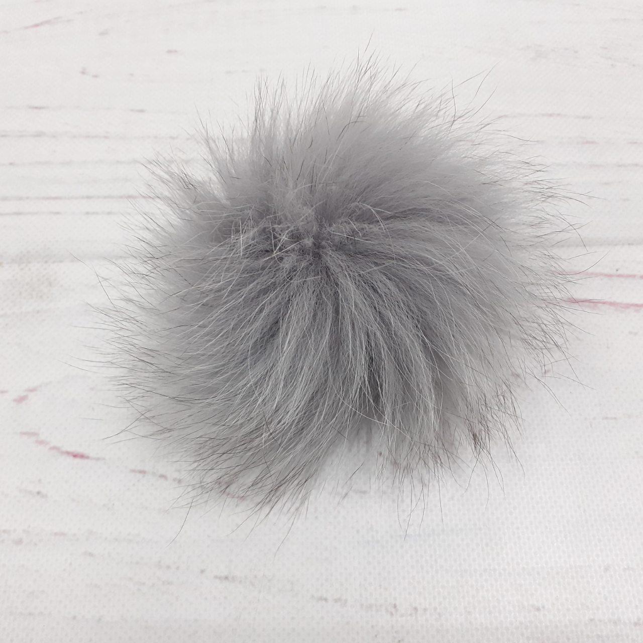 Бубон натуральный песец. Цвет серый  (14 см)