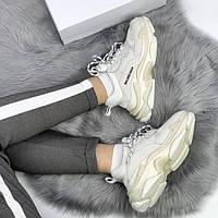 Женские кроссовки в стиле Balenciaga Triple S White Cream