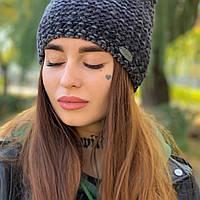 Женская зимняя шапка бини ТМ Odyssey, расцветки: морская (зеленая), синева (серая). Артикул 20395