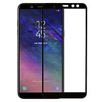 Защитное стекло для Samsung Galaxy A6+ SM-A605 Самсунг клеится по всей поверхности черное Full Glue