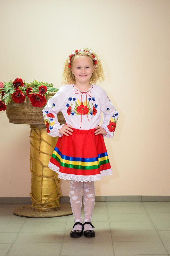 Вишиванка дитяча Волинські візерунки Польові квіти 152 см біла