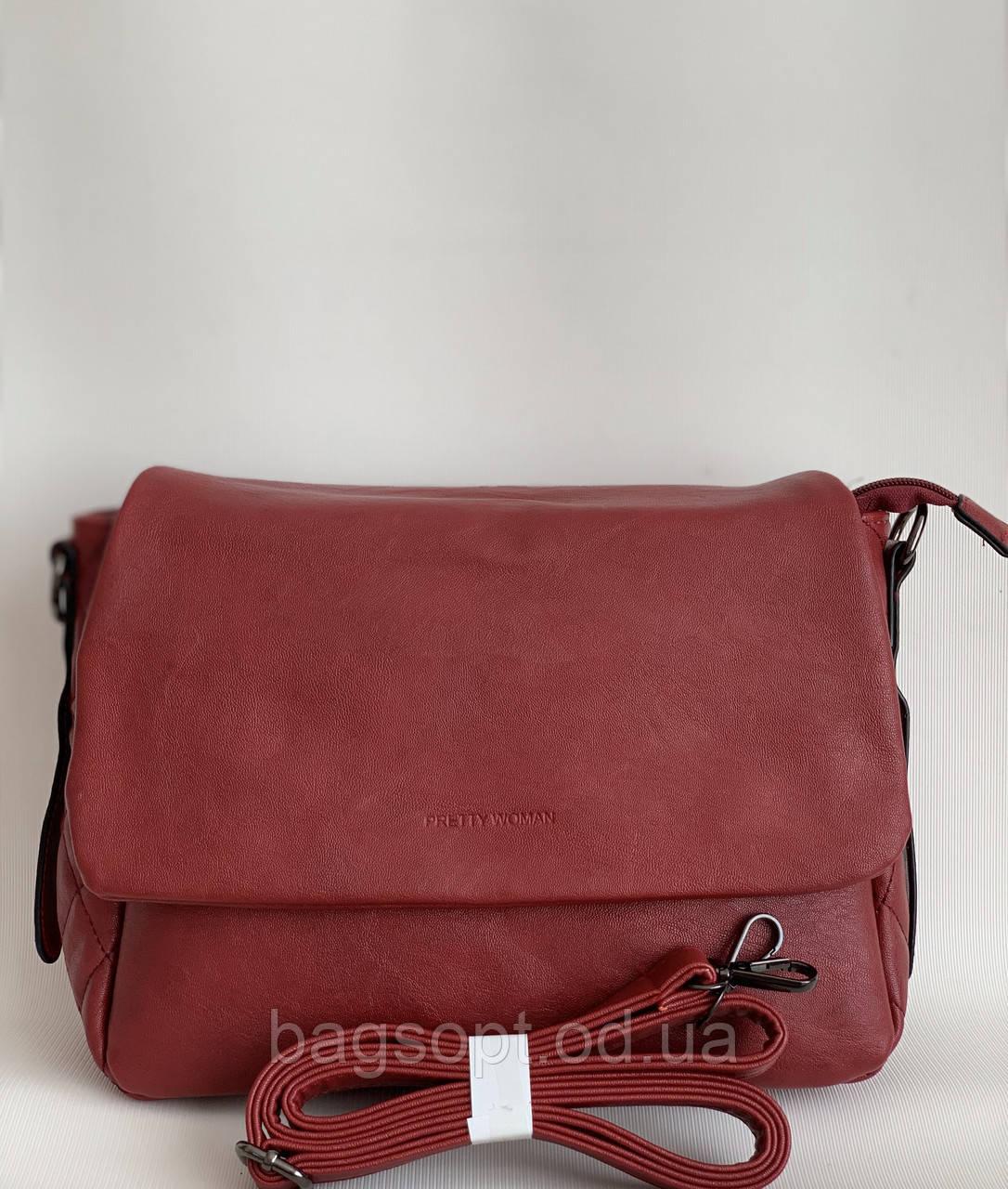 Бордовая сумка женская через плечо Pretty Woman кожзам Одесса 7 км