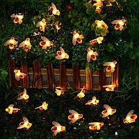 Светодиодная гирлянда Садовые пчелы на солнечной батарее 6.5 метров 30led  Теплый белый (20)