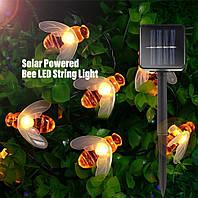 Светодиодная гирлянда Садовые пчелы  на солнечной батарее 6.5метров 50led