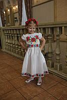 Платье льняное для девочки белое с вышивкой крестиком в украинском стиле 122