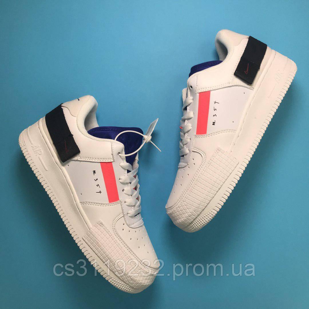 Жіночі кросівки Nike Air Force 1 White Red Orbit (білі)