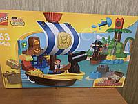 Обзор Пиратский корабль Джека (аналог Lego Duplo 10514), 63 детали.