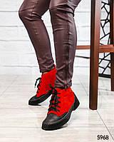 Спортивные ботинки Демизамшевые красные