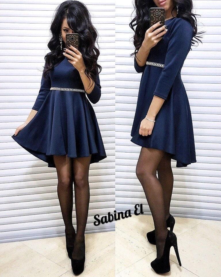 Женское нарядное платье с декором,синего цвета