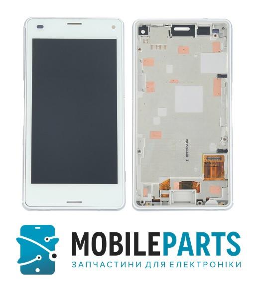 Дисплей для Sony D5803 | Xperia Z3 Compact с сенсорным стеклом в рамке (Белый) Оригинал Китай