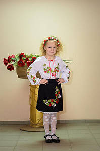 Спідниця Волинські візерунки українська вишита Червона калина 146 см чорна