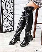 Зимние ботфорты женские кожаные черные, фото 1