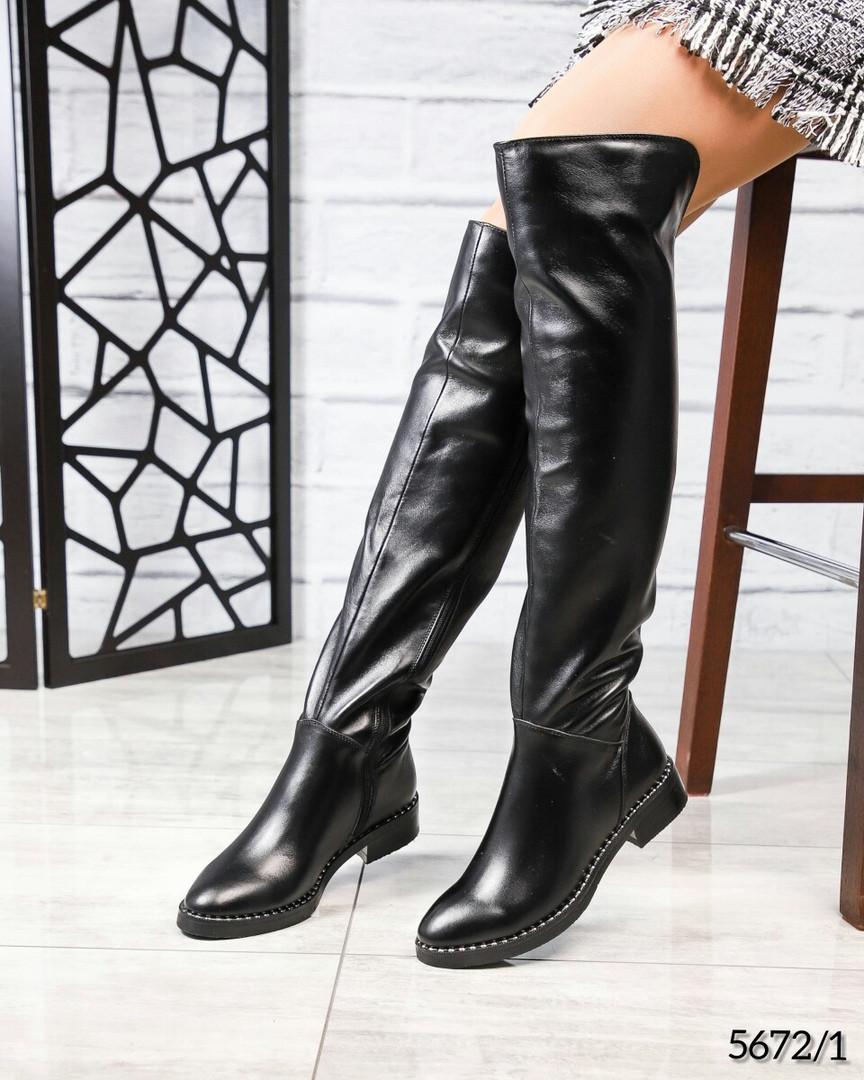 Зимние ботфорты женские кожаные черные
