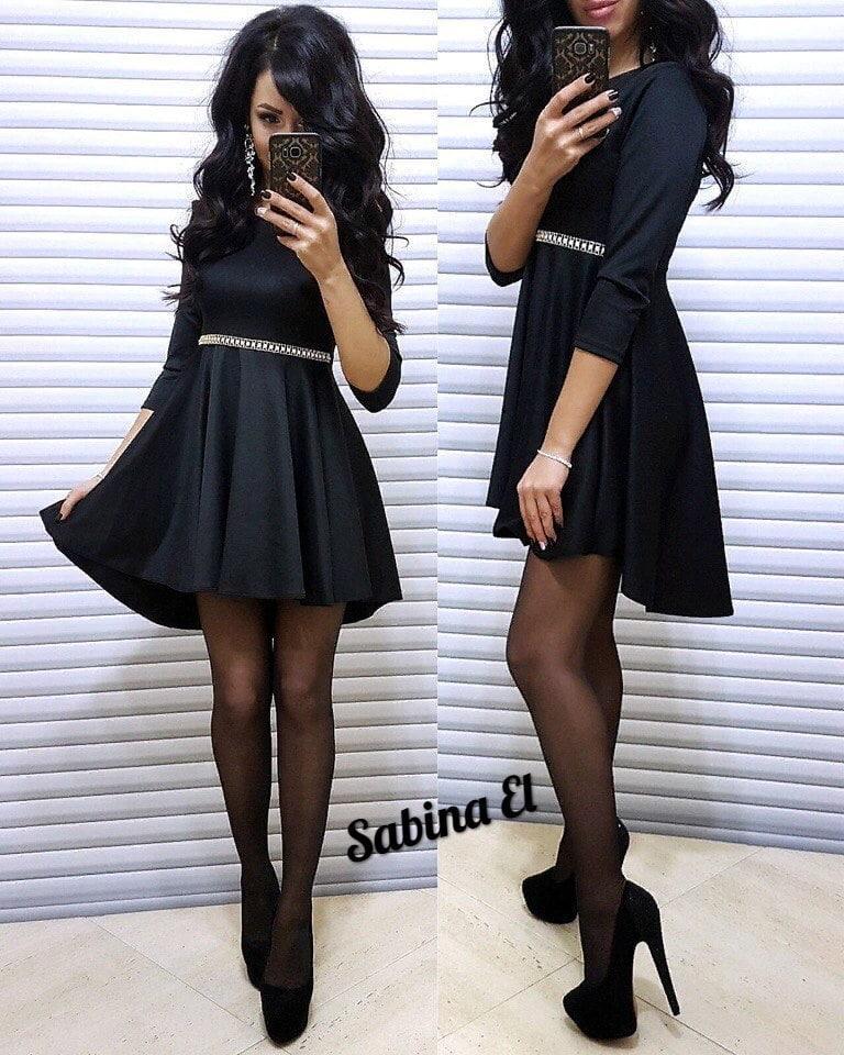 Женское стильное платье с декором,черного цвета