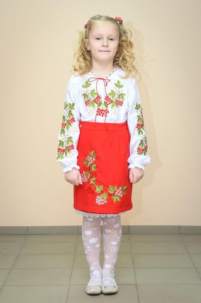 Спідниця Волинські візерунки українська вишита на дівчинку Червона калина 110 см червона