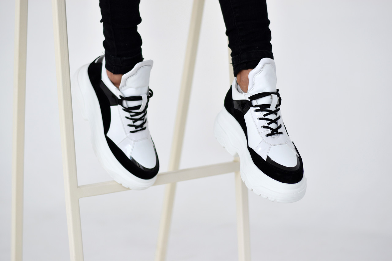Черно-белые кожаные кроссовки VIFEST